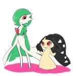2girls arms_at_sides bangs black_hair black_skin blunt_bangs closed_mouth colored_skin commentary enden_(pixiv_57969220) flat_chest flat_color full_body gardevoir green_hair green_skin hair_over_one_eye hands_up happy height_difference highres long_hair looking_at_another looking_down looking_to_the_side mawile multicolored multicolored_skin multiple_girls playing_with_own_hair pokemon pokemon_(creature) red_eyes sharp_teeth shiny shiny_hair shiny_skin short_hair smile standing teeth two-tone_skin very_long_hair white_background white_skin yellow_skin