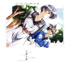 1990s_(style) 1boy 1girl absurdres arms_behind_back bangs belt black_hair day dousoukai dutch_angle green_eyes hand_in_pocket highres hood hood_down hoodie kai_tomohisa official_art outdoors retro_artstyle scan short_hair shorts smile suspender_shorts suspenders wakabayashi_ayu