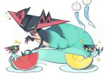 alu_drp bite_mark closed_eyes closed_mouth commentary_request dragapult dreepy eating highres looking_down no_humans notice_lines open_mouth plate pokemon pokemon_(creature) sparkle tongue watermelon_slice white_background