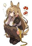 1girl :t absurdres animal_ears arknights boots brown_coat brown_footwear brown_hair ceobe_(arknights) coat commentary_request dog_ears full_body hair_between_eyes hands_up head_rest highres long_hair looking_at_viewer mushroom red_eyes simple_background solo squatting thigh-highs thigh_boots vegetable_osamuta very_long_hair white_background