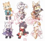 6+girls ahoge animal_ear_fluff animal_ears arknights armband bikini bird bird_on_hand black_footwear black_hair black_legwear black_neckwear black_scarf black_shirt black_shorts blonde_hair blue_eyes blush boots cake cake_slice chibi chinese_commentary cliffheart_(arknights) collared_shirt commentary_request crossed_legs dog_ears dog_girl dog_tail dress_shirt eyebrows_visible_through_hair flower food fox_ears fox_girl fox_tail full_body fur-trimmed_boots fur_trim green_eyes green_jacket hair_ornament hairclip hat highres holding holding_flower horse_ears horse_girl horse_tail jacket kitsune kyuubi lappland_(arknights) lappland_(refined_horrormare)_(arknights) laurel_crown leopard_ears leopard_girl leopard_tail looking_at_animal looking_at_viewer multicolored_hair multiple_girls multiple_tails necktie official_alternate_costume open_clothes open_jacket platinum_(arknights) platinum_(shimmering_dew)_(arknights) podenco_(arknights) ponytail purple_jacket red_eyes red_legwear redhead sandals scarf shirt shoes shorts simple_background single_thighhigh sitting sleeveless sleeveless_jacket socks squiggle standing straight-on streaked_hair striped striped_neckwear sunflower suzuran_(arknights) suzuran_(lostlands_flowering)_(arknights) swimsuit tail texas_(arknights) texas_(willpower)_(arknights) thigh-highs thought_bubble torn_clothes torn_jacket torn_legwear white_background white_bikini white_hair white_headwear white_jacket wolf_ears wolf_girl wolf_tail yellow_eyes yellow_flower yellow_footwear yellow_wristband zhizhangsiyin