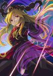 1girl :  amanoyayuki aura blonde_hair breasts bright_pupils brown_sash chinese_clothes closed_mouth commentary_request crescent_print danmaku energy eyebrows_visible_through_hair fox_print highres junko_(touhou) laser long_hair long_sleeves looking_at_viewer medium_breasts orange_eyes phoenix_crown solo tabard tassel touhou upper_body wide_sleeves