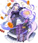 1girl aura bangs black_footwear candy closed_mouth cookie dark_aura dress eyebrows_visible_through_hair fire_emblem fire_emblem:_the_binding_blade fire_emblem_heroes floating floating_object food frills full_body high_heels highres jewelry lollipop long_dress long_hair long_sleeves looking_away necklace official_art puffy_sleeves purple_hair see-through smile solo sophia_(fire_emblem) stuffed_toy transparent_background urata_asao veil violet_eyes wrist_cuffs