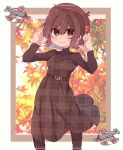 1girl aircraft alternate_costume autumn_leaves bangs beret blush brown_dress brown_eyes brown_hair brown_headwear brown_legwear brown_sweater dress eyebrows_visible_through_hair hagino_chihiro hair_between_eyes hat hat_ornament highres hyuuga_(kancolle) kantai_collection leaf long_sleeves one-hour_drawing_challenge pantyhose plaid plaid_dress short_hair smile solo sweater