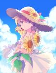 1girl absurdres bangs bare_shoulders blonde_hair bow closed_mouth clouds commentary_request day dress flower hair_bow hat hat_flower hat_ribbon highres holding holding_flower long_hair on_shoulder outdoors pikachu pokemon pokemon_(creature) pokemon_adventures pokemon_on_shoulder ponytail red_ribbon ribbon sky straw_hat white_dress yellow_(pokemon) yellow_flower yui_ko