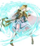 1girl ankle_boots armor armored_dress axe bangs battle_axe blonde_hair blue_eyes blue_hair boots breastplate cape dress earrings feather_trim fire_emblem fire_emblem_heroes fjorm_(fire_emblem) full_body fur_trim gloves gradient gradient_clothes gradient_hair highres holding holding_weapon jewelry maeshima_shigeki medium_hair multicolored_hair official_art shoulder_armor solo thigh-highs tiara two-tone_hair weapon zettai_ryouiki