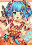 1girl :d bangs berry_(shining_star) blue_eyes blue_hair blue_nails blush bow breasts choker dress drill_hair earrings food hair_bow hair_ornament heart highres ice_cream jewelry looking_at_viewer nail_polish open_mouth red_choker red_dress rnskkn shining_star small_breasts smile solo twin_drills w