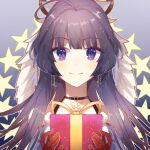 1girl bangs christmas close-up closed_mouth earrings gift gloves hair_between_eyes holding holding_gift honkai_(series) honkai_impact_3rd idass_(idass16) jewelry long_hair looking_at_viewer portrait purple_hair raiden_mei red_gloves smile solo star_(symbol) violet_eyes