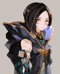 1girl bangs black_hair blue_coat closed_mouth coat collared_dress detached_sleeves hood hood_down hooded_coat ornament parted_bangs rinwell_(tales) short_hair simple_background sleeveless_coat solo tales_of_(series) tales_of_arise toskogahazan upper_body yellow_eyes