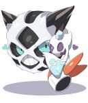 closed_eyes closed_mouth commentary froslass glalie green_eyes hand_up heart highres looking_at_viewer no_humans pokemon pokemon_(creature) shabana_may teeth white_background