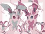 alternate_color alu_drp closed_mouth commentary_request framed heart highres looking_at_viewer no_humans open_mouth pokemon pokemon_(creature) shiny_pokemon smile sylveon tongue violet_eyes