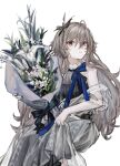 1girl absurdres black_dress bouquet breasts closed_mouth clothes_lift dress dress_lift eyebrows_visible_through_hair flower girls_frontline hair_ornament highres holding holding_bouquet holding_flower long_hair looking_at_viewer mole mole_under_eye nail_polish platinum_blonde_hair qiujiao red_eyes solo sp9_(girls'_frontline) white_background white_dress