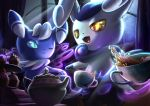 :d blue_sclera closed_mouth colored_sclera commentary_request cup fangs green_eyes highres looking_back meowstic meowstic_(female) meowstic_(male) no_humans one_eye_closed open_mouth pokemon pokemon_(creature) smile tea teacup teapot tongue yamaori6