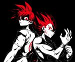 2boys black_background blood blood_on_face dragon_ball dragon_ball_super limited_palette looking_at_viewer male_focus multiple_boys parted_lips putting_on_gloves red_eyes redhead simple_background sm318 son_goku spiky_hair spot_color super_saiyan super_saiyan_god vegeta