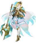 1girl ankle_boots armor armored_dress axe bangs battle_axe blonde_hair blue_eyes blue_hair boots breastplate cape dress earrings feather_trim fire_emblem fire_emblem_heroes fjorm_(fire_emblem) full_body fur_trim gloves gradient gradient_clothes gradient_hair highres holding holding_weapon jewelry maeshima_shigeki medium_hair multicolored_hair shoulder_armor solo thigh-highs tiara two-tone_hair weapon zettai_ryouiki