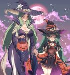 2girls absurdres basket black_dress black_hair black_headwear braid breasts clouds dress eine_(eine_dx) embarrassed english_commentary fire_emblem fire_emblem:_three_houses fire_emblem_heroes full_moon green_eyes green_hair halloween_costume hat highres holding holding_basket holding_hands large_breasts long_hair moon mother_and_daughter multicolored_hair multiple_girls official_art orange_hair puffy_short_sleeves puffy_sleeves purple_dress purple_headwear rhea_(fire_emblem) short_sleeves sothis_(fire_emblem) striped twin_braids twintails very_long_hair witch_hat wrist_cuffs