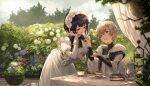 1boy 1girl ahoge bangs black_bow black_neckwear black_shirt blueberry blush book bow bowtie braid breasts brown_eyes cake clouds cloudy_sky collarbone commentary cowboy_shot crossed_bangs cup dappled_sunlight day dress feeding flower food fork frills fruit gold_trim grey_hair hair_between_eyes hand_in_hair hand_up highres holding holding_fork holding_tray jug leaning_forward long_sleeves looking_at_another maid maid_headdress medium_breasts mito_itsuki open_mouth original outdoors plant potted_plant purple_hair saucer shirt short_hair sitting sky standing sunlight table teacup tray tree upper_body violet_eyes white_dress white_robe