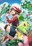 1girl :d absurdres bow brown_eyes brown_hair cabbie_hat chikorita clouds commentary_request day hand_up hat hat_bow highres holding holding_poke_ball leaf leaves_in_wind leg_up long_hair lyra_(pokemon) open_mouth outdoors poke_ball poke_ball_(basic) pokegear pokemon pokemon_(creature) pokemon_(game) pokemon_hgss rainys_bill red_bow red_footwear red_shirt shirt shoes sky smile teeth thigh-highs tongue twintails upper_teeth white_headwear white_legwear yellow_bag