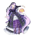 1girl bangs black_footwear breasts dress eyebrows_visible_through_hair fire_emblem fire_emblem:_the_binding_blade fire_emblem_heroes floating floating_object frills full_body high_heels highres jewelry long_dress long_hair long_sleeves looking_away medium_breasts necklace official_art open_mouth puffy_sleeves purple_hair see-through solo sophia_(fire_emblem) spider_hair_ornament stuffed_toy transparent_background urata_asao veil violet_eyes wrist_cuffs