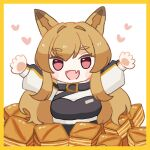 1girl :d animal_ears arknights bangs belt border brown_hair ceobe_(arknights) dog_ears dog_girl eyebrows_visible_through_hair eyelashes fang food hair_between_eyes hands_up happy heart long_hair long_sleeves open_mouth skin_fang smile solo someyaya thick_eyebrows upper_body white_background yellow_border