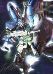 beam_rifle char's_counterattack char's_counterattack_-_beltorchika's_children energy_gun fin_funnels glowing glowing_eyes gun gundam hi-nu_gundam holding holding_gun holding_shield holding_weapon mecha mobile_suit motion_blur science_fiction shield signature solo space totthii0081 v-fin weapon yellow_eyes