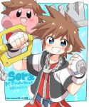 1boy blue_eyes blush blush_stickers brown_hair copy_ability crossover eromame gloves hat keyblade kingdom_hearts kingdom_hearts_i kirby kirby_(series) looking_at_viewer male_focus open_mouth short_hair simple_background smile sora_(kingdom_hearts) spiky_hair super_smash_bros. weapon
