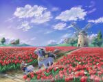 :d blue_sky building closed_mouth clouds colored_sclera commentary_request d-nezumi day evolutionary_line fang flower grass highres hill mightyena netherlands no_humans open_mouth outdoors pokemon pokemon_(creature) poochyena red_eyes red_flower sky smile tongue tree tulip windmill yellow_neckwear yellow_sclera