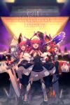 5girls armor asymmetrical_horns bangs bare_shoulders bikini_armor black_dress blue_eyes blush breasts cape curled_horns dragon_girl dragon_horns dragon_tail dress echo_(circa) elizabeth_bathory_(brave)_(fate) elizabeth_bathory_(fate) elizabeth_bathory_(fate/extra_ccc) elizabeth_bathory_(halloween_caster)_(fate) fate/extra fate/grand_order fate_(series) hair_ribbon halloween_costume hat horns long_hair looking_at_viewer mecha_eli-chan_(fate) mecha_eli-chan_mk.ii_(fate) multiple_girls multiple_persona open_mouth pauldrons pink_hair pointy_ears red_armor ribbon robot shoulder_armor small_breasts smile striped sword tail two_side_up vertical-striped_dress vertical_stripes weapon white_cape witch_hat