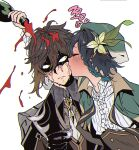 2boys alcohol bangs black_gloves black_hair blue_hair bottle braid brown_hair cape closed_eyes closed_mouth cup drunk flower genshin_impact gloves godwkgodwk gradient_hair green_cape green_headwear hair_between_eyes hat holding holding_cup jacket kiss kissing_cheek korean_text long_sleeves male_focus multicolored_hair multiple_boys pouring shaded_face side_braids simple_background upper_body venti_(genshin_impact) wet white_background yellow_eyes zhongli_(genshin_impact)