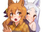 2girls ahoge animal_ear_fluff animal_ears bangs bell black_bow black_gloves blush bow brown_eyes brown_hair brown_kimono checkered checkered_kimono closed_mouth commentary_request elbow_gloves eyebrows_visible_through_hair facial_mark fang fang_out forehead fox_ears gloves hair_bell hair_between_eyes hair_bow hair_ornament hands_on_another's_shoulders hands_up highres japanese_clothes jingle_bell kimono kuro_kosyou multiple_girls parted_bangs red_eyes sewayaki_kitsune_no_senko-san shiro_(sewayaki_kitsune_no_senko-san) short_eyebrows silver_hair simple_background smile thick_eyebrows upper_body whisker_markings white_background