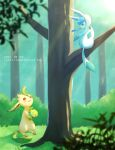alopias blurry blurry_foreground bouquet branch bush flower glaceon grass green_eyes highres holding holding_flower leaf leafeon no_humans open_mouth pokemon pokemon_(creature) proposal shadow sitting standing sunlight tree yellow_eyes