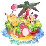 :d alolan_raichu ball beachball blue_eyes chabo_(starchabo) closed_eyes closed_mouth commentary_request evolutionary_line grass happy highres open_mouth outline pichu pikachu pokemon smile surfing toes tree water