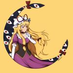 1girl artist_name bangs belt blonde_hair bow breasts brown_belt choker closed_mouth crescent dress elbow_gloves eyebrows_visible_through_hair gap_(touhou) giantcavemushroom gloves hair_between_eyes hair_bow hand_up hat hat_bow highres long_hair looking_to_the_side medium_breasts mob_cap puffy_short_sleeves puffy_sleeves purple_dress red_bow red_choker red_eyes red_neckwear short_sleeves simple_background smile solo standing touhou violet_eyes white_gloves white_headwear yakumo_yukari yellow_neckwear