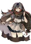 1girl arknights banner belt black_hair brown_belt carrying_over_shoulder commentary cowboy_shot cropped_legs eyebrows_visible_through_hair genieko grey_hair grey_shirt highres holding holding_stick long_hair looking_at_viewer multicolored_hair official_alternate_costume open_mouth red_eyes shirt short_sleeves simple_background snowsant_(fated_hero)_(arknights) solo stick two-tone_hair white_background wrist_cuffs