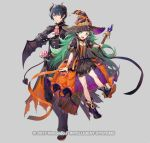 1boy 1girl azutarou blue_eyes blue_hair byleth_(fire_emblem) byleth_eisner_(male) demon_horns demon_wings fire_emblem fire_emblem:_three_houses fire_emblem_heroes green_eyes green_hair halloween_costume hat horns looking_at_viewer official_art pointy_ears sothis_(fire_emblem) wings witch_hat