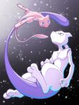:< blue_eyes closed_mouth collarbone commentary_request eye_contact frown grey_eyes looking_at_another mew mewtwo nagi_(exsit00) pokemon pokemon_(creature) spread_legs toes