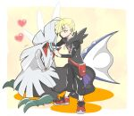 1boy ahoge bangs blonde_hair border brushing commentary_request fanny_pack gladion_(pokemon) hair_over_one_eye heart holding holding_brush hood hood_down hoodie male_focus nagi_(exsit00) pants pokemon pokemon_(creature) pokemon_(game) pokemon_sm red_bag red_footwear shoes short_hair silvally standing torn_clothes torn_pants white_border