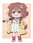 1girl animal_ears bangs bone_hair_ornament braid brown_eyes brown_hair buttons chibi club_(weapon) commentary dog_ears dog_girl dog_tail dress english_commentary extra_ears eyebrows_visible_through_hair hair_between_eyes hair_ornament hairclip holding holding_club holding_weapon hololive inugami_korone jacket kukie-nyan long_hair looking_at_viewer loose_socks low_twin_braids open_clothes open_jacket open_mouth red_legwear smile solo tail twin_braids twintails twitter_username virtual_youtuber weapon white_dress yellow_jacket