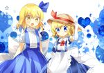 2girls alice_margatroid alice_margatroid_(pc-98) apron blonde_hair blue_bow blue_dress blue_eyes blue_hairband blue_skirt blush bow closed_mouth dress elbow_gloves eyebrows_visible_through_hair flat_chest frilled_apron frills gloves hair_bow hairband hand_on_headwear hat hat_bow highres kana_anaberal looking_at_viewer multiple_girls open_mouth ougi_maimai puffy_short_sleeves puffy_sleeves red_neckwear shirt short_hair short_sleeves skirt smile suspenders touhou touhou_(pc-98) waist_apron white_apron white_bow white_shirt yellow_eyes younger