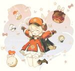 2girls :d ahoge backpack bag bag_charm bangs bloomers boots brown_footwear brown_gloves brown_scarf cabbie_hat charm_(object) chibi clover_print coat commentary_request dodoco_(genshin_impact) eyebrows_visible_through_hair full_body genshin_impact gloves hair_between_eyes hat hat_feather hat_ornament hilichurl_(genshin_impact) jumping jumpy_dumpty klee_(genshin_impact) knee_boots kneehighs light_purple_hair long_hair long_sleeves looking_at_viewer low_twintails mechanical_halo milkuriem multiple_girls open_mouth outstretched_arms paimon_(genshin_impact) pocket pointy_ears randoseru red_coat red_headwear scarf sidelocks simple_background smile spread_arms twintails underwear white_hair