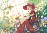 1girl bare_shoulders belt black_gloves black_ribbon braid bug butterfly chair chinese_commentary choker commentary cup dress flower frilled_dress frills garden gloves green_eyes haruno_sakura hat hat_flower hat_ornament highres indoors lace_trim long_dress looking_at_viewer looking_to_the_side naruto naruto_(series) orange_flower parted_lips pastry pink_hair plant potted_plant purple_flower red_dress red_flower red_headwear ribbon senryoko short_hair sitting solo sunflower table tablecloth white_flower window yellow_flower