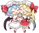 ascot bangs bat_wings blonde_hair blue_hair blush bow cheek-to-cheek closed_eyes commentary_request crystal eyebrows_visible_through_hair flandre_scarlet frilled_shirt_collar frilled_skirt frills full_body hat hat_bow hat_ribbon heads_together holding_hands mary_janes mob_cap open_mouth pointy_ears puffy_short_sleeves puffy_sleeves red_bow red_footwear red_skirt red_vest remilia_scarlet ribbon shoes short_hair short_sleeves siblings side_ponytail simple_background sisters skirt suwa_yasai touhou vest white_background wings wrist_cuffs yellow_neckwear