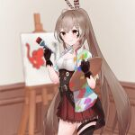 1girl ahoge altmifuku asymmetrical_legwear bangs black_gloves black_legwear blurry blurry_background brown_eyes brown_hair canvas_(object) cleavage_cutout clothing_cutout coat commentary easel elephant english_commentary feather_hair_ornament feathers gloves hair_between_eyes hair_ornament high_ponytail highres hololive hololive_english long_hair nanashi_mumei paint_stains paintbrush palette_(object) partially_fingerless_gloves red_skirt skirt solo thigh-highs very_long_hair virtual_youtuber white_coat