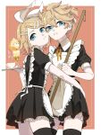1boy 1girl :< apron bangs bass_clef black_dress black_legwear blonde_hair blue_eyes bow broom commentary crossdressing cup dress eiku framed_image hair_bow hair_ornament hairclip hand_on_another's_hip highres holding holding_broom holding_tray kagamine_len kagamine_rin looking_at_viewer maid maid_apron neck_ribbon parfait parted_lips red_background red_neckwear ribbon short_hair short_ponytail spiky_hair steam swept_bangs teacup thigh-highs tray treble_clef vocaloid white_bow zettai_ryouiki