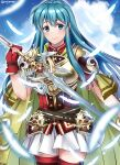 1girl aqua_eyes aqua_hair armor bangs belt blue_sky boots breastplate cape clouds cloudy_sky earrings eirika_(fire_emblem) feathers fingerless_gloves fire_emblem fire_emblem:_the_sacred_stones fire_emblem_heroes gloves highres holding holding_sword holding_weapon jewelry long_hair maji_(majibomber) red_gloves shoulder_armor sidelocks skirt sky smile solo sword thigh-highs thigh_boots weapon white_skirt