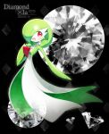 1girl bangs black_background blush bob_cut character_name choker colored_skin commentary crystal dated diamond_(gemstone) english_text eyebrows_visible_through_hair flat_chest full_body gardevoir gem green_hair green_skin hair_over_one_eye hand_to_own_mouth hand_up happy heart heart_in_eye lace lace_choker looking_at_viewer lotosu mega_stone multicolored multicolored_skin open_mouth outstretched_arm pokemon pokemon_(creature) shiny shiny_hair short_hair smile solo standing symbol_in_eye transparent two-tone_skin white_skin