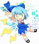 0mzum1 1girl animal arm_up bangs black_footwear blue_bow blue_dress blue_eyes blue_hair blush bow bowtie chibi cirno collar collared_shirt dress eyebrows_visible_through_hair flying frog hand_up ice ice_wings lightning looking_at_viewer one-hour_drawing_challenge one_eye_closed open_mouth puffy_short_sleeves puffy_sleeves red_bow red_neckwear shirt shoes short_hair short_sleeves smile socks solo square touhou white_background white_legwear white_shirt wings