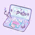 arrow_(symbol) artist_name book buttons chandelure commentary fire lampent leaphere litwick new_nintendo_3ds no_humans pokemon purple_background purple_fire signature simple_background sparkle stylus
