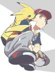 1boy backpack bag baseball_cap black_hair black_shirt brown_eyes closed_mouth commentary_request from_below grey_pants hat holding holding_poke_ball jacket male_focus nagi_(exsit00) on_shoulder pants pikachu poke_ball poke_ball_(basic) pokemon pokemon_(creature) pokemon_(game) pokemon_frlg pokemon_on_shoulder red_(pokemon) red_headwear shirt shoes short_hair short_sleeves sleeveless sleeveless_jacket squatting t-shirt vs_seeker yellow_bag