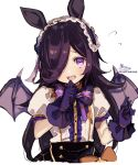 1girl animal_ears bangs black_hair black_skirt blush bow brown_bow center_frills commentary_request demon_wings eyebrows_visible_through_hair fangs flying_sweatdrops frills gloves hair_over_one_eye hand_up highres horse_ears looking_at_viewer open_mouth portrait puffy_short_sleeves puffy_sleeves purple_bow purple_gloves purple_wings rice_shower_(umamusume) short_sleeves signature simple_background skirt sofra solo striped striped_bow twitter_username umamusume violet_eyes white_background wings